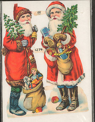"""Antique Santa Father Christmas Die Cut Outs Embossed Victorian PLB Ephemera 5"""""""