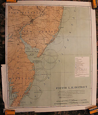 1903 Lighthouses of New Jersey to Virginia Fourth Lighthouse District Map