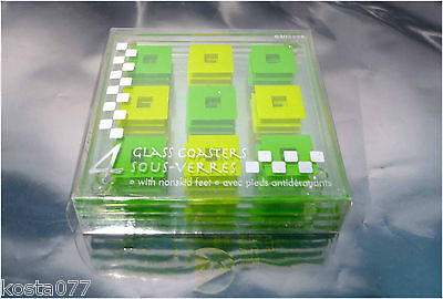 4 x Glass Coasters Set, 0302298, Nonskid feet, Green Squares