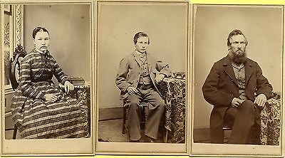 3 EXC 1860s CDV s, Northville, Vermont Folks Sitting Beside Small Photo Albums