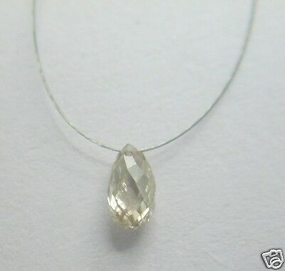 0.40Cts Natural Real Champagne Color Drop Shape Diamond Briolette Bead