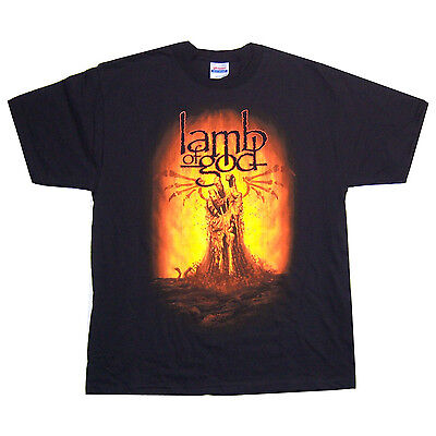 "Lamb Of God Plague ""burning Hand"" Blk T-Shirt X-Large Xl New Official"