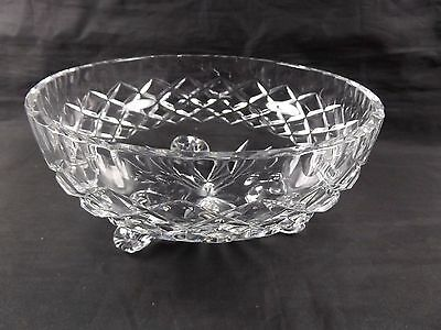 Vintage 3-Footed Lead Crystal Tapered Glass Bowl ~ Chipped Edge