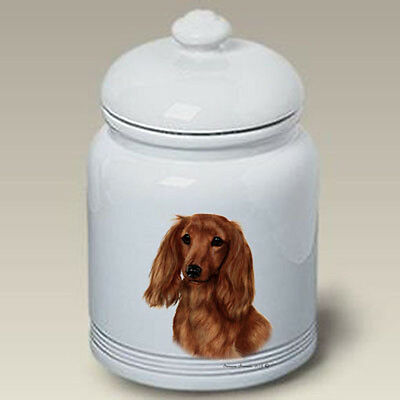 Ceramic Treat Cookie Jar - Longhaired Red Dachshund (TB) 34138