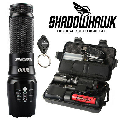 20000lm Linterna táctica genuina Shadowhawk X800 LED Zoom antorcha Flashlight