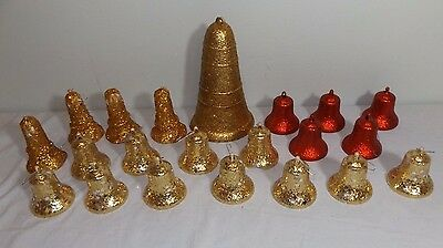 """Lot 21 VTG Glitter Covered Bell Christmas Ornaments Decorations 3"""" - 8.5"""""""