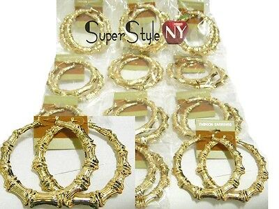 """2.75"""" W Size 1Dz Lot of 12 Bamboo Hoop Circle Design Wholesale Earrings"""
