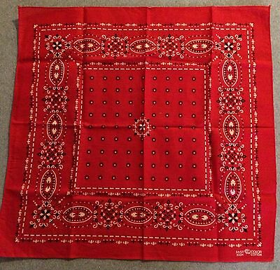 Vintage Elephant Fast Color Red Trunk Up Geometric Bandana Work USA Selvage NOS