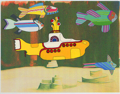 "YELLOW SUBMARINE Cel w/Glossy Background 10""x8"", Hand Painted Fan Art"