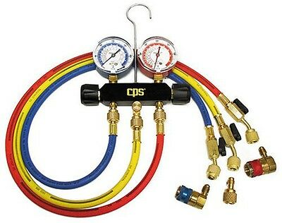 CPS Products MB234 Black Max Dual Brass AC Manifold for R-12 & R-134A