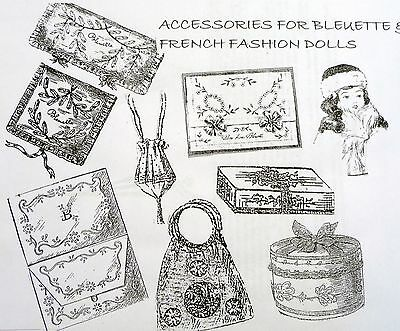 """Accessory Pattern Collection For 11"""" Bleuette, French Fashion, & German Dolls"""