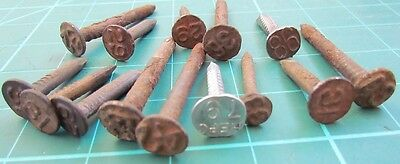 14 Old Railroad Tie Marker Nails