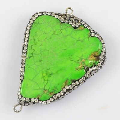 Green Howlite Turquoise Pave Zircon Connector H82553