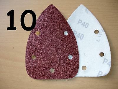 10 x 40 GRIT - 140mm - MOUSE SANDER PADS / SANDING SHEETS - VELCRO BACKED