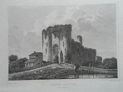 Original Antiquarian Welsh Engraving of Neath Castle, Glamorganshire - c1830