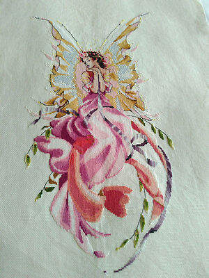 New Finished Completed Cross Stitch - Butterfly Pretty woman - P70a