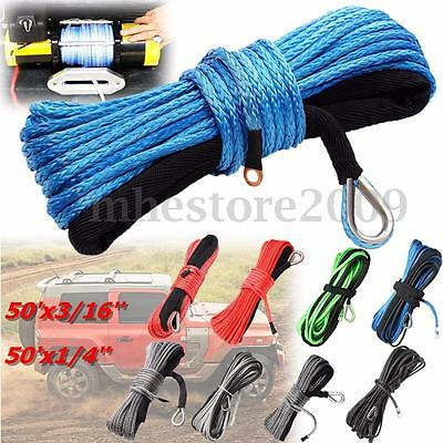 "1/4""X50', 3/16""X50' Synthetic Winch Line Cable Rope with Sheath SUV ATV Vehicle"