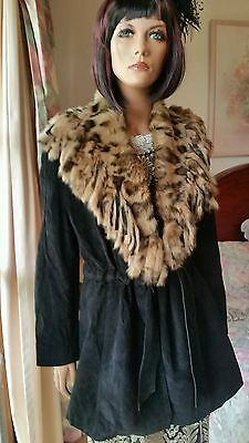 Genuine Black Leather Suede Coat Jacket & Leopard Rabbit Fur Shawl Collar S10 12