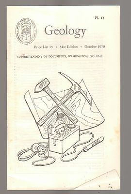 Geology Price List October 1970 Superintendent of Documents Washington DC