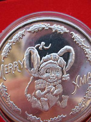 1-Oz.cute Christmas Mouse Or Elf ? Rare Only One On Ebay .999  Silver Coin+Gold