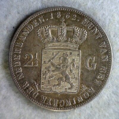 NETHERLANDS 2-1/2 GULDEN 1862 ABOUT UNCIRCULATED LARGE SILVER (stock# 0288)