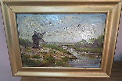 """Antique Signed oil Painting on board - landscape windmill 9""""x13"""" -13""""x17"""" Framed"""