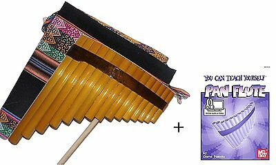 Beginners Bamboo Pan Flute 15 Pipes + Case + Guide Book & Online Audio/Video