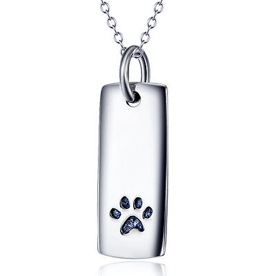 Charms 925 Sterling Silver Puppy Pet Dog Cat Paw Print Tag Pendant Necklace Gift