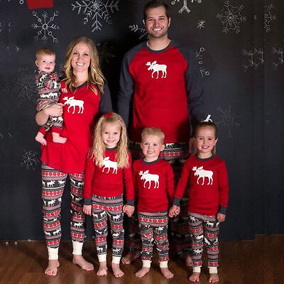 Xmas Family Pajamas Set Moose Fairy Adult Women Kids Baby Sleepwear Nightwear