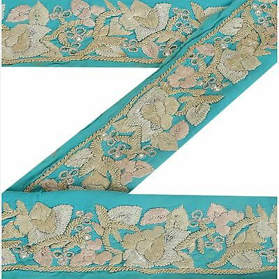 Vintage Sari Border Antique Hand Beaded 1 YD Indian Trim Décor Ribbon Blue Lace