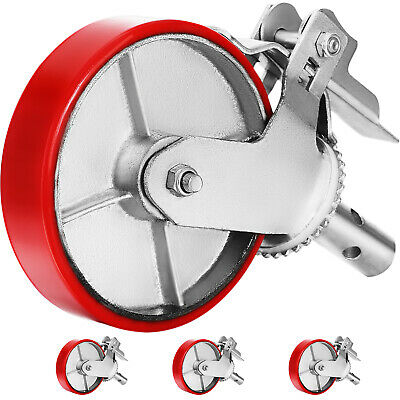 """A set of 4 Scaffolding 8"""" Polyurethane Caster Wheel with Double Locking Brakes"""