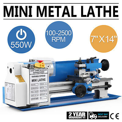 "550W Precision Mini Metal Lathe Metalworking Bench Top 7""x14"" Spindle DC Motor"