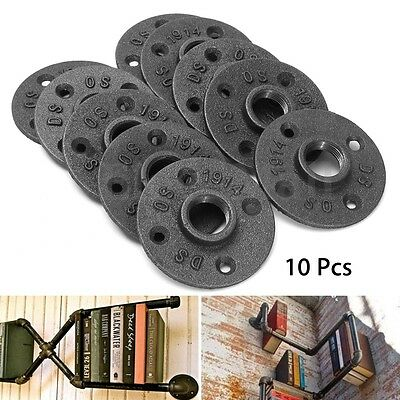 20Pcs 3/4'' Black Malleable Threaded Floor Flange Iron Pipe Fittings Wall Mount