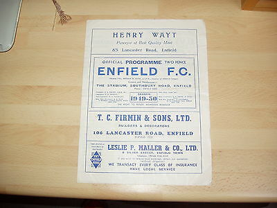 Enfield v Hayes London Senior Cup 1st Rd 1949/50