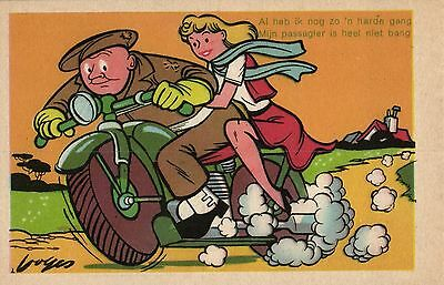 Motorcycle soldier with girl friend artist postcard