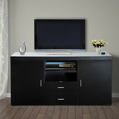 HomCom Wooden TV Stand Cabinet Contemporary Storage Drawers Media Console Black