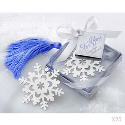 25 Boxed Snowflake Tassels Bookmark Baby Shower Bridal Wedding Party Favours