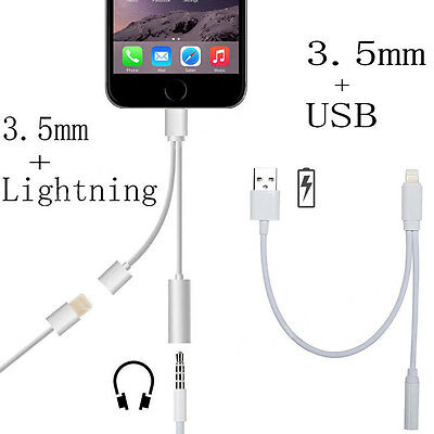 3.5mm Headphone Audio Jack Adapter Connector Charge Cable For iPhone 7 6 6S Plus