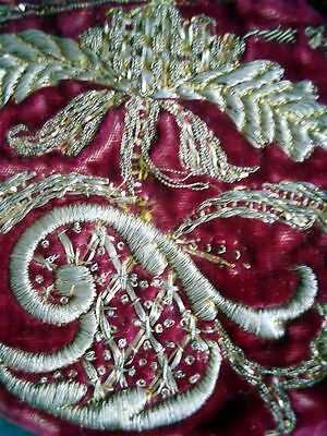 Second Antique Oriental Ottoman  Bourse  Bronze Metallic Embroidery Trim  18Th-C