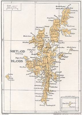 1923 map of Scotland: Shetland Islands ready-mounted antique print SUPERB