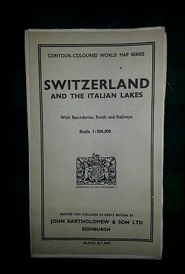 Collectable 1955 Clean And Tidy Map Of The Italian Swiss Alps - Frame Up V. Nice