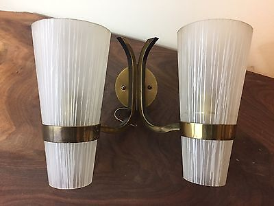 Vintage French Mid Century Modern Double Glass Shade Light Sconce