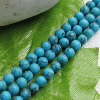 95pcs Sky Blue Turquoise Round Loose Beads Strand for Jewelry Make Bracelet 4mm