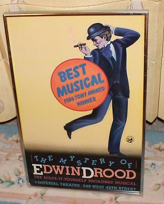 Vtg Broadway Musical Window Card Poster Framed Mystery of Edwin Drood 1980s