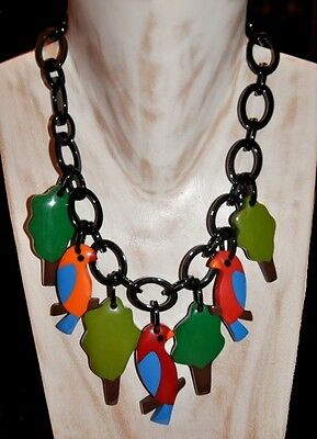 FAB MULTI COLOR RESIN BIB NECKLACE with BIRD and TREE CHARMS