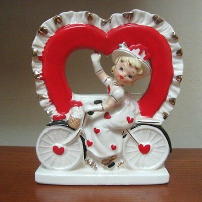 RARE ViNtAgE RELPO Girl Valentine Heart Figurine Planter on Bicycle Bike