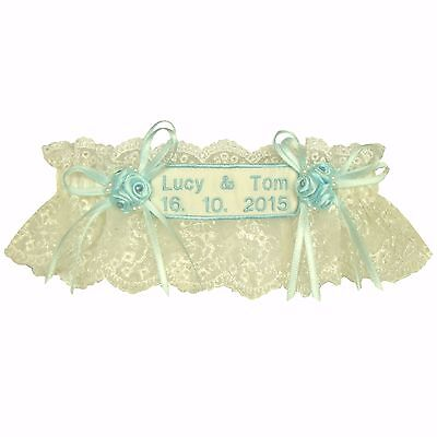 Personalised Tigerlilykitten Wedding Garter Ivory or White Tulle Blue Embroidery