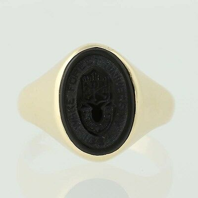 Wake Forest University Ring - 10k Yellow Gold Onyx Signet Women's 8