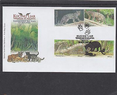 Malaysia 2013 Wild Cats tiger leopard  First Day Cover FDC Malawi fdi h/s