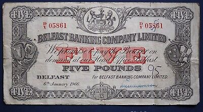 1966 Belfast Banking Company Ltd, Five pounds, £5 note Hand Signed [7992]